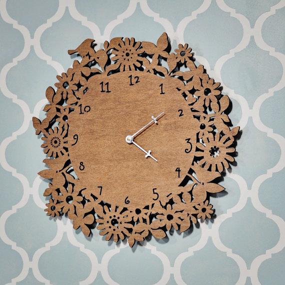 floral clock wooden