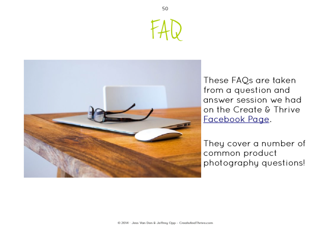 Create & Thrive Guide to Product Photography - FAQ