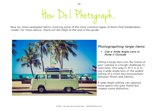 Create & Thrive Guide to Product Photography - How Do I Photograph Big Things