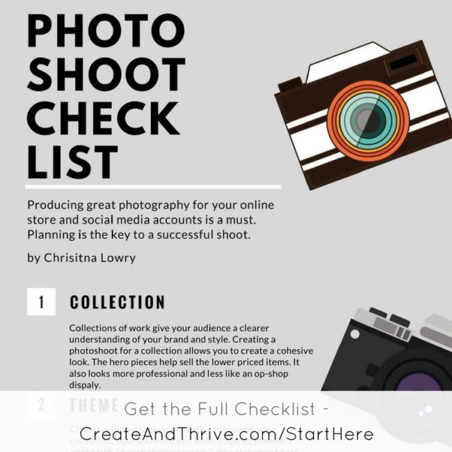 Handmade Business Collection Photo Shoot Checklist - Create & Thrive